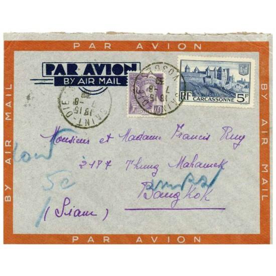 FRANCE  LETTRE  DE 1939   SAINT-DIE- BANGKOK ...