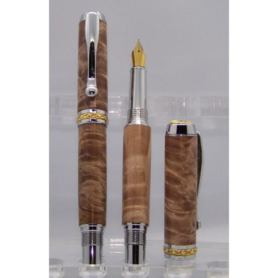 Ensemble stylo et plume Triton loupe d'érable