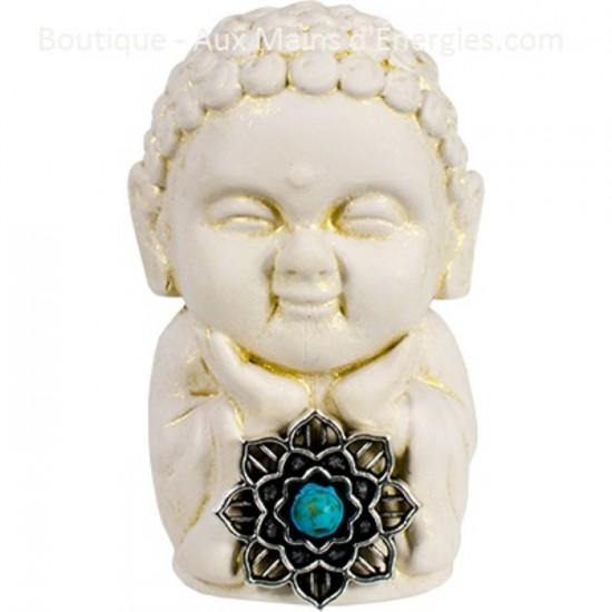 Bouddha gypse -Lotus turquoise