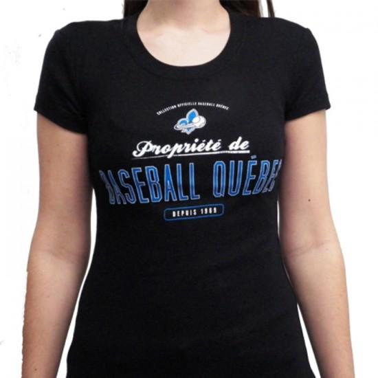 T-shirt noir Baseball Québec