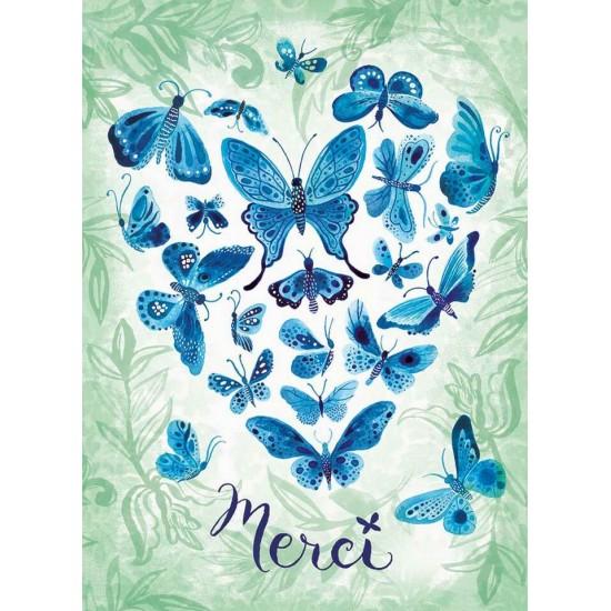 Cœur de papillons bleus