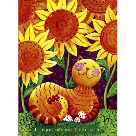 Chat et fleurs soleil