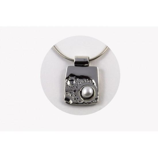 P33-Pendentif carré en argent sterling avec perle...