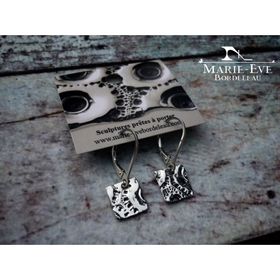 Boucles d'oreilles «Petit carré» en argent...