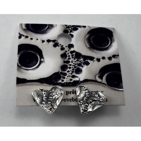 Boucles d'oreilles moyen coeur fixe/sur tige en...