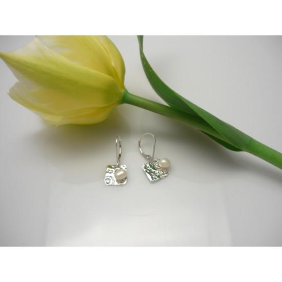 Boucles d'oreilles carrées en argent sterling...