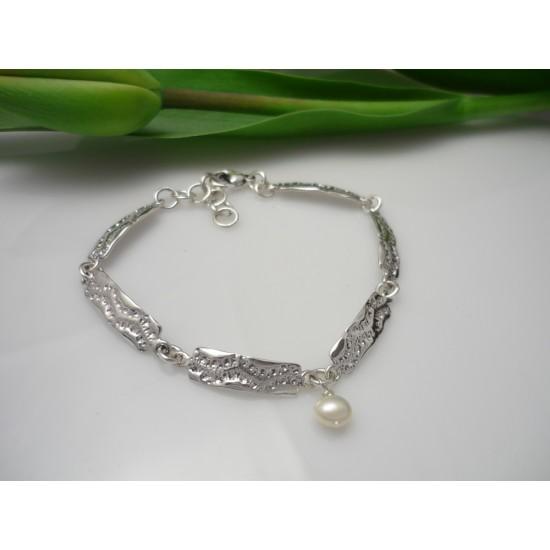 Bracelet en argent sterling avec breloque perle...