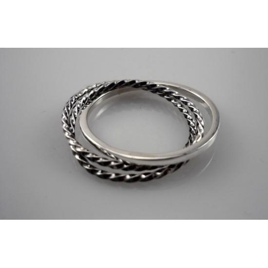 Jonc à trois anneaux inséparables en argent...