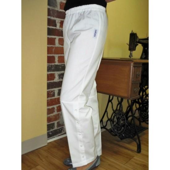 Pantalon taille élastique à jambes avec boutons...