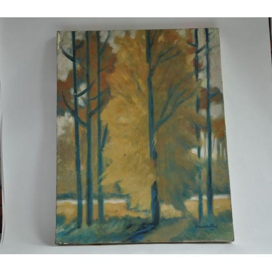 Huile d'un paysage d'automne signée Sarrazin 88
