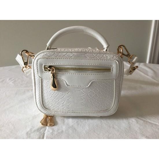 Petit sac en similicuir blanc