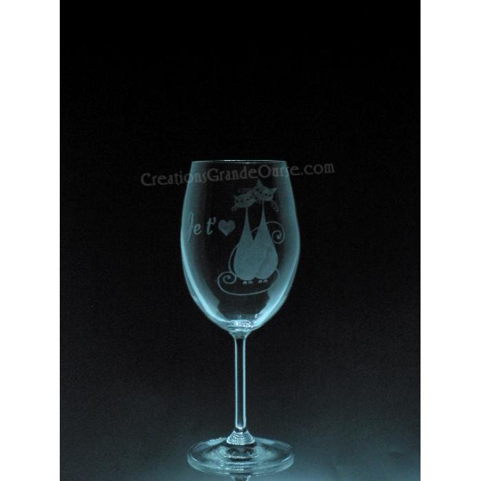 verre vin grav avec design chats amoureux cr ations grande ourse. Black Bedroom Furniture Sets. Home Design Ideas