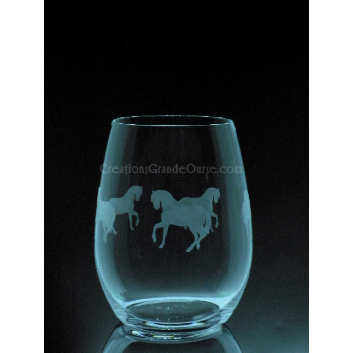 verre  u00e0 vin grav u00e9 cheval  u00e9questre  cr u00e9ations grande ourse