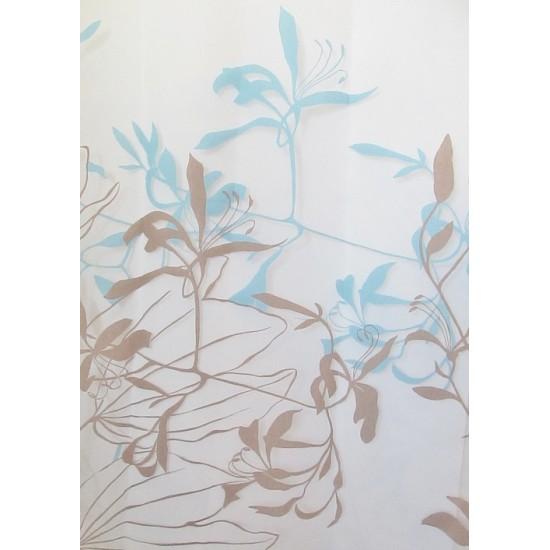 LYS voilage imprimé bleu - 280 cm - 55% polyester...