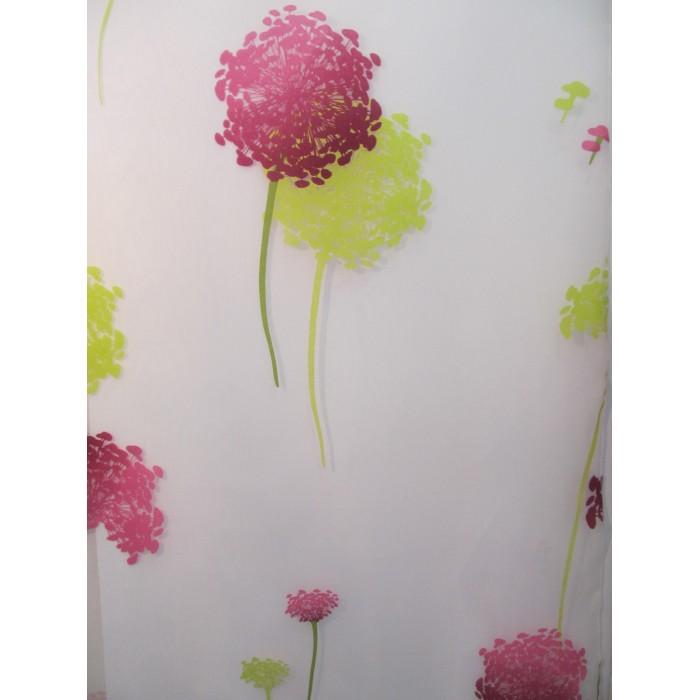 Voilage fleurs rose et vert d coratif en 280 cm de haut - Voilage au metre ...