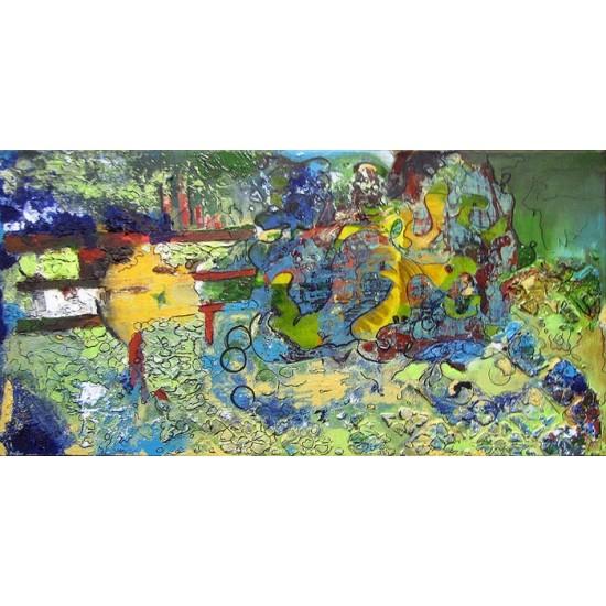 Peinture médium mixtes -JARDIN LUDIQUE