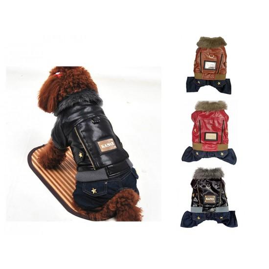 Manteau d'hiver 4 pattes pour chien Cuir et Poils