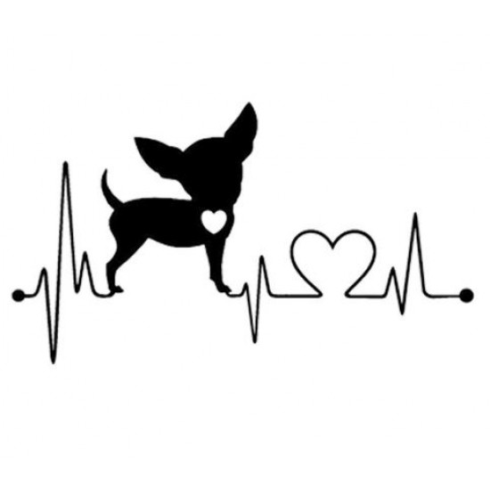 Autocollants pour voiture Chihuahua Heart Beating