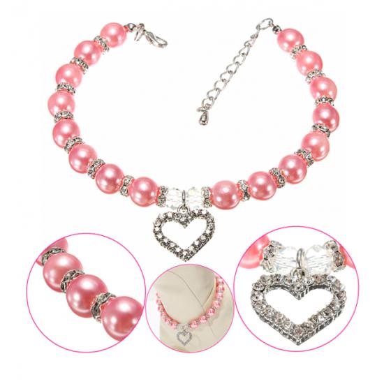 Collier perle et pendentif coeur de cristal pour...