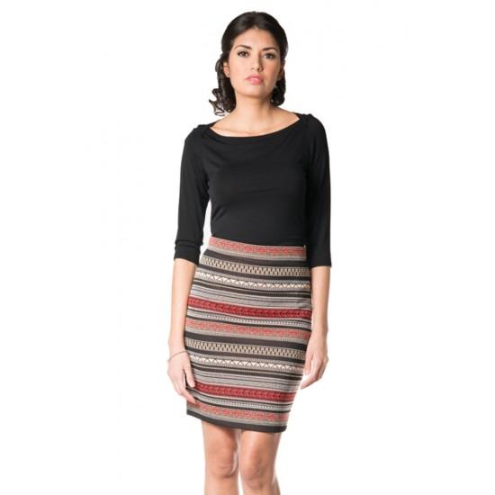 Mini-jupe droite à imprimé aztèque