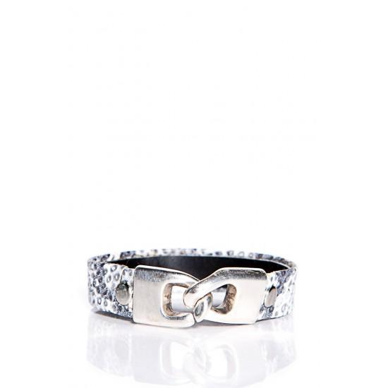 Bracelet en cuir imprimé serpent noir , blanc et...