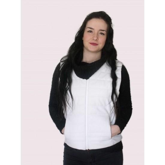 Veste sans manche en cuir blanc réversible