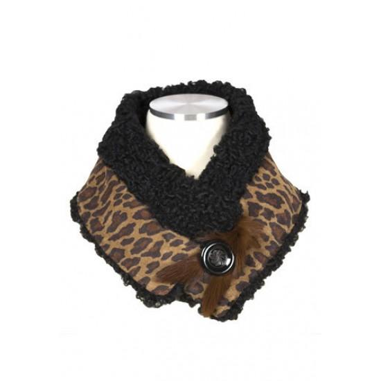 foulard en suède imprimé et fourrure recyclé.