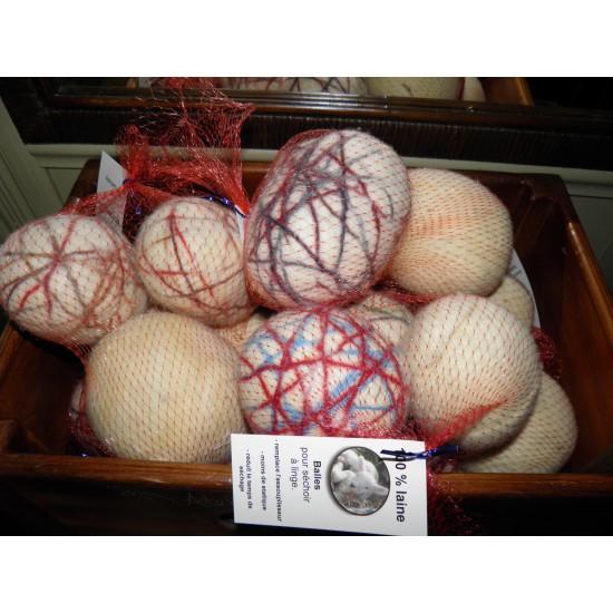 Balles de séchage en laine feutrée avec sac.