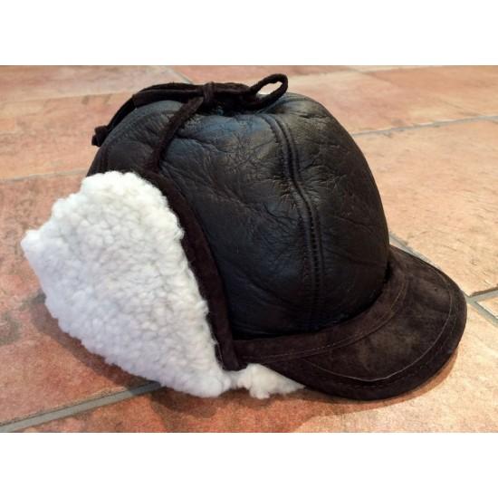 Paul Leinburd - Chapeau en mouton, cuir brun napa