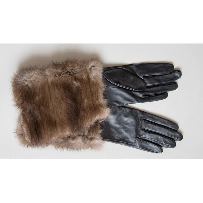 gants en cuir avec fourrure de vison. Black Bedroom Furniture Sets. Home Design Ideas