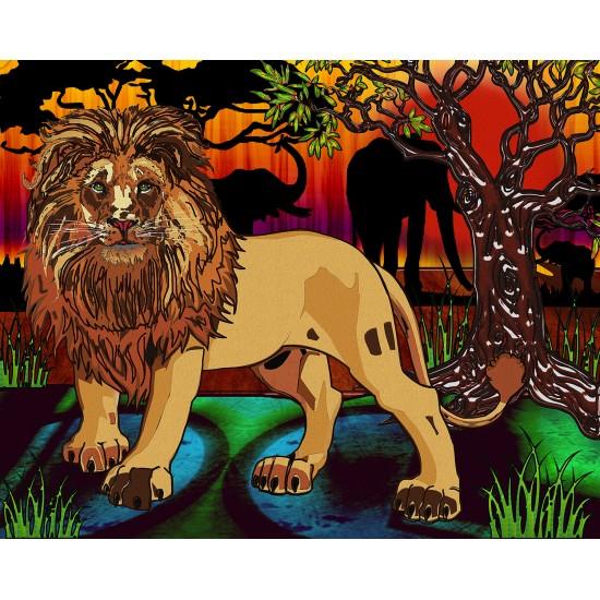 Broderie de diamant Lion 50 cm x 40 cm