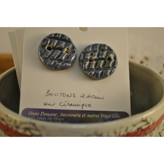 Boutons en céramique couleur bleu texturé