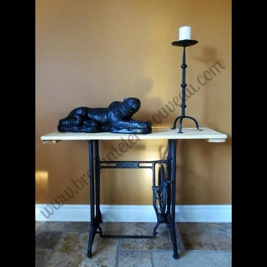 Table console en bois et métal