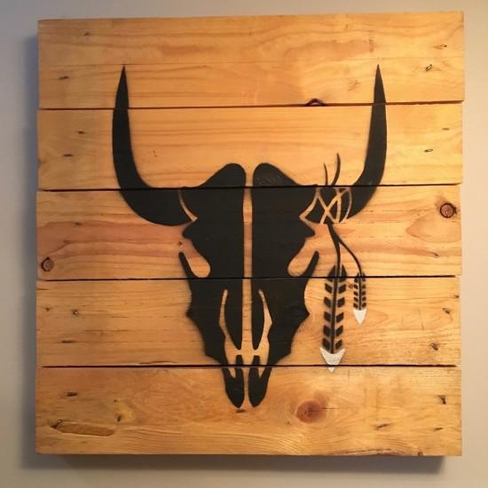 Tableau silhouette buffle sur bois