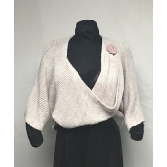 Boléro bouton beige tweed rose