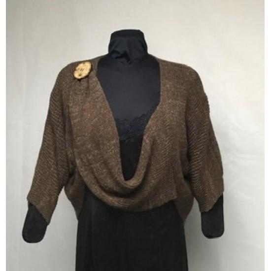Boléro bouton brun tweed