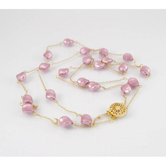 Collier perle rose Swarovski fini or 14K