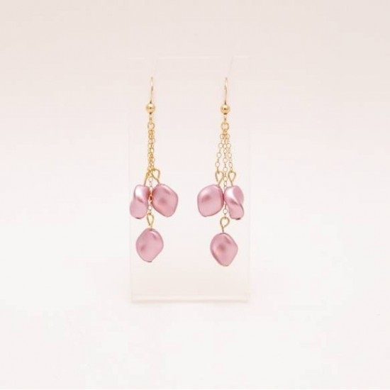 Boucles d'oreille perle rose Swarovski fini or 14k