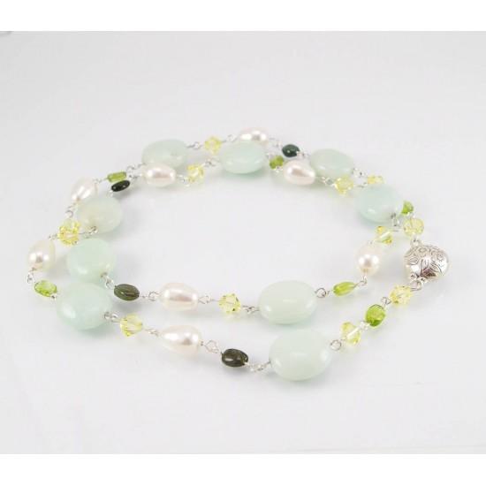 Collier avec amazonite, perle et cristal Swarovski
