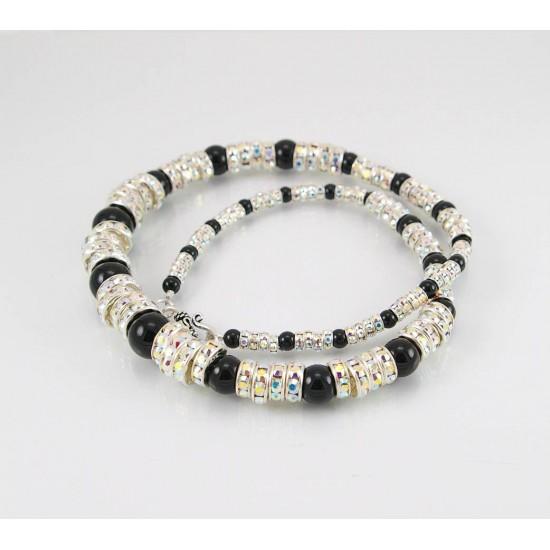 Collier cristal Swarovski et onyx noir