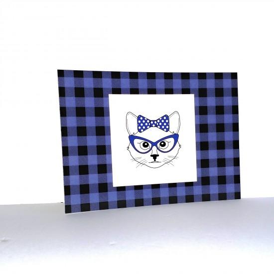 #17-013 Carte postale Carreauté Bleu et noir Chat...