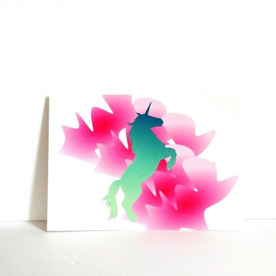 #18-090 Carte postale Animaux Licorne