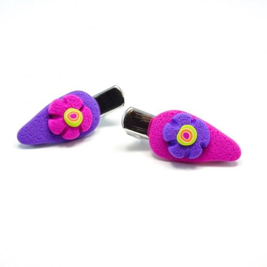 Mini-clip fleur colorée fuchsia / mauve