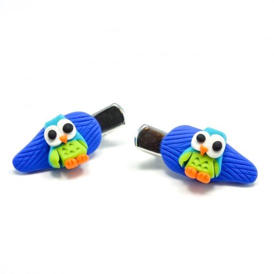 Mini-clip hibou turquoise