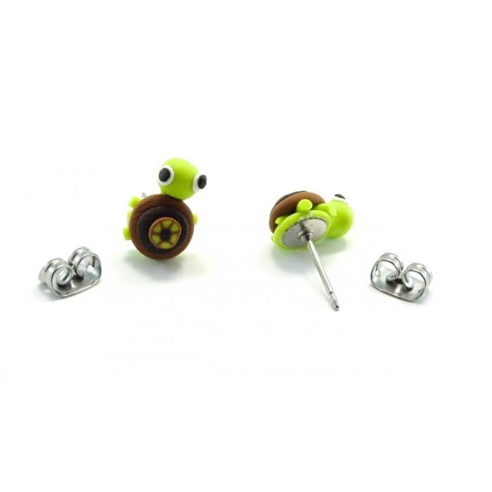 Boucle d'oreille tortue verte