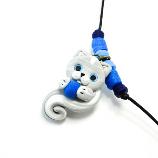 Collier chat bleu