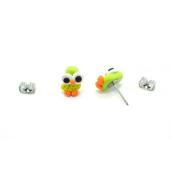 Boucle d'oreille hibou vert-lime