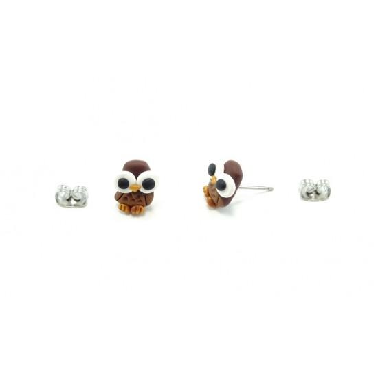 Boucle d'oreille hibou brun