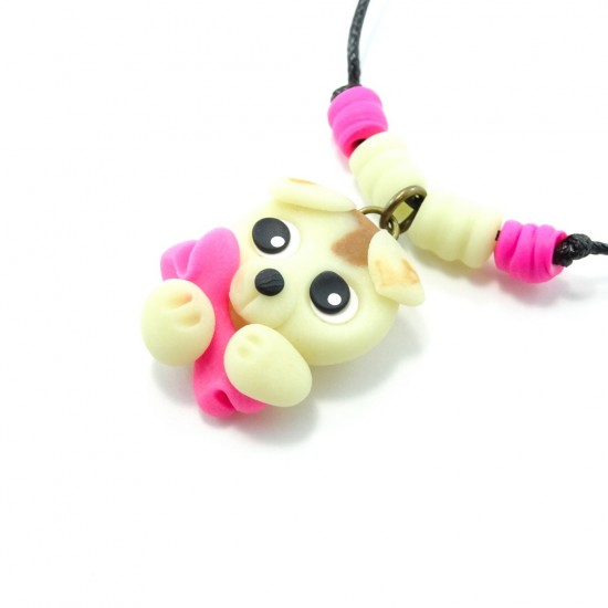 Luminescent : collier chien rose