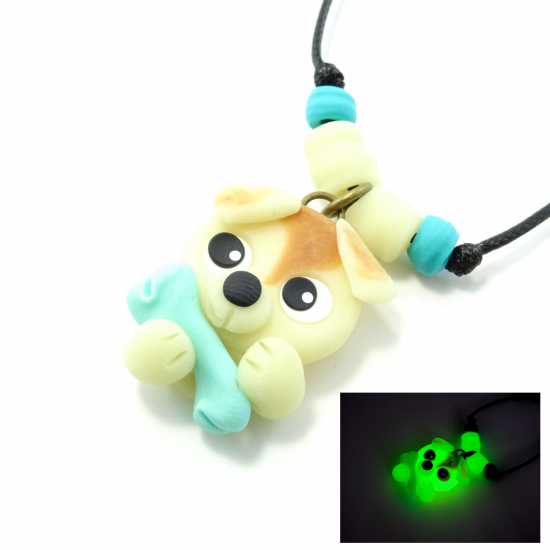Luminescent : collier chien turquoise